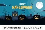 halloween background. pumpkins... | Shutterstock .eps vector #1172447125