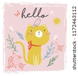 embroidery cute cat vector...   Shutterstock .eps vector #1172463112