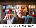 young girl standing in... | Shutterstock . vector #1172465485