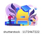 big backpack  teacher speaking... | Shutterstock .eps vector #1172467222