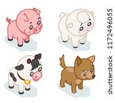 farm animal cub isometric 3d... | Shutterstock .eps vector #1172496055
