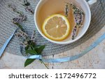 herbal tea with mint and lemon...   Shutterstock . vector #1172496772