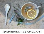 herbal tea with mint and lemon. ...   Shutterstock . vector #1172496775