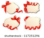 set of old cards with red gift... | Shutterstock . vector #117251296