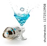steel shaker and splashing blue ... | Shutterstock . vector #1172513908