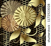 gold floral 3d vector seamless... | Shutterstock .eps vector #1172523028