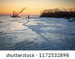 winter landscape with log on... | Shutterstock . vector #1172532898