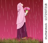 hijab girl hold flowers in the... | Shutterstock .eps vector #1172537218