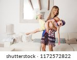 mother and son playing fancy... | Shutterstock . vector #1172572822