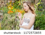beautiful young nordic teenager ... | Shutterstock . vector #1172572855