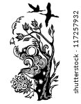 tattoo of an abstract tree with ... | Shutterstock .eps vector #117257932
