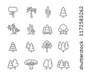 tree related icons  thin vector ... | Shutterstock .eps vector #1172583262