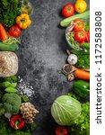 various fresh vegetables... | Shutterstock . vector #1172583808