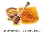 honey with honeycomb and pollen | Shutterstock . vector #1172585218