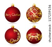 set of red christmas balls on... | Shutterstock .eps vector #117259156
