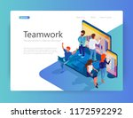 people are working together to...   Shutterstock .eps vector #1172592292