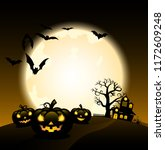 silhouette halloween night... | Shutterstock .eps vector #1172609248