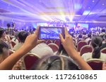 hand hold mobile phone with... | Shutterstock . vector #1172610865
