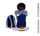 depressed sad afro american boy ... | Shutterstock .eps vector #1172618662