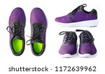 pair of running purple sneakers ... | Shutterstock . vector #1172639962