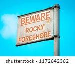 beware rocky foreshore warning...   Shutterstock . vector #1172642362