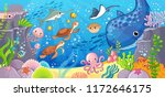 undersea world. cute cartoon... | Shutterstock .eps vector #1172646175