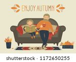 enjoy autumn. father with... | Shutterstock .eps vector #1172650255