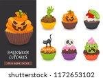 halloween cupcake set. cute... | Shutterstock .eps vector #1172653102