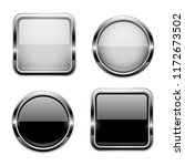 black and white buttons with...   Shutterstock .eps vector #1172673502