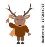 cute autumn deer wear sweater... | Shutterstock .eps vector #1172686018