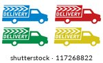 delivery truck with delivery... | Shutterstock .eps vector #117268822