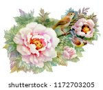 exotic birds with rose flowers... | Shutterstock . vector #1172703205