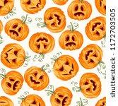 halloween pumpkin seamless... | Shutterstock .eps vector #1172703505