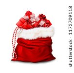 christmas gifts  in a large red ... | Shutterstock . vector #1172709118