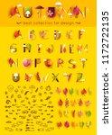 autumn font. vector alphabet... | Shutterstock .eps vector #1172722135