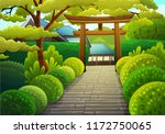 colorful japanese landscape of... | Shutterstock .eps vector #1172750065
