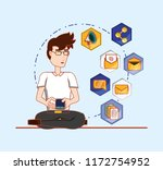 man in glasses with cellphone... | Shutterstock .eps vector #1172754952