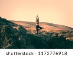 beautiful girl doing yoga and... | Shutterstock . vector #1172776918