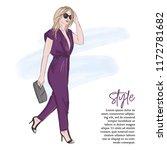 fashion illustration  girl in... | Shutterstock .eps vector #1172781682