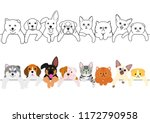 Stock vector cute puppies and kitties border set 1172790958
