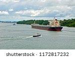 oil tanker anchored on gatum... | Shutterstock . vector #1172817232