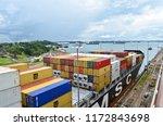 container ship exiting gatun... | Shutterstock . vector #1172843698