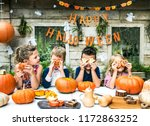 playful kids enjoying a... | Shutterstock . vector #1172863252