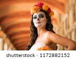 catrin and catrina in cemetery...   Shutterstock . vector #1172882152