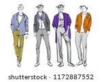 fashion man. set of fashiona... | Shutterstock .eps vector #1172887552