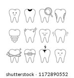 tooth icons set. outline style. ...