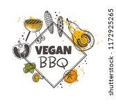 vegan bbq concept design. grill ...   Shutterstock .eps vector #1172925265