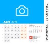 april 2019. calendar for 2019...   Shutterstock .eps vector #1172954452