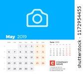 may 2019. calendar for 2019...   Shutterstock .eps vector #1172954455