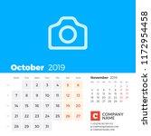october 2019. calendar for 2019 ...   Shutterstock .eps vector #1172954458